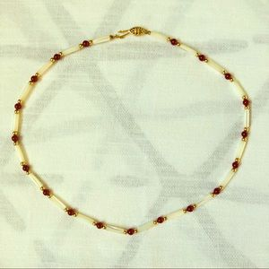 """Jewelry - 18"""" Red and Mother-of-Pearl Beaded Necklace"""